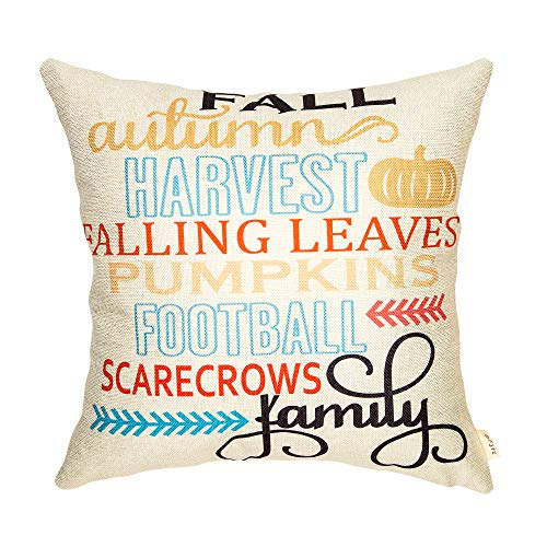 Fjfz Thanksgiving Day Fall Autumn Harvest Falling Leaves Pumpkins Football Scarecrows Family Sign Cotton Linen Home Decorative Throw Pillow Case Cushion Cover with Words for Sofa Couch, 18 x 18
