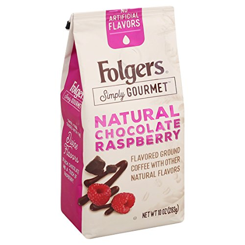 Folgers Simply Gourmet Flavored Ground Coffee with Other Natural Flavors, Chocolate Raspberry, 10 Ounce
