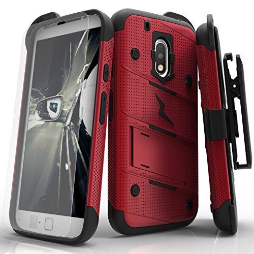 Motorola G4 Play Case, Zizo [Bolt Series] w/ [Motorola G4 Play Screen Protector] Kickstand [12 ft. Military Grade Drop Tested] Holster Clip - G4 Play