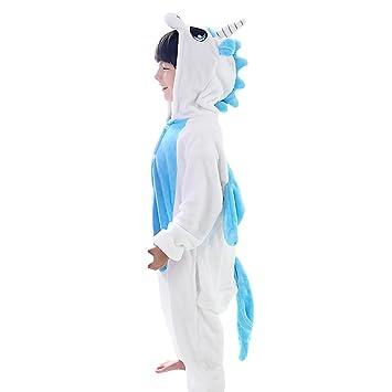 LSERVER-Pijama de los Niños Cosplay Traje Conjunto Franela Diseño de Dibujos Animados Azul Unicornio