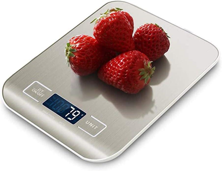 5kg // 11 lbs Bater/ías Incluidas Color Plata B/áscula Digital para Cocina de Acero Inoxidable Peso de Cocina Balanza de Alimentos Multifuncional