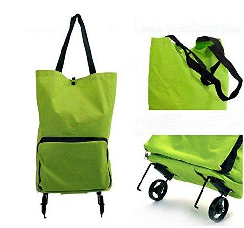 Honeysuck grande carrello per la spesa doppia ruota Tote bag (verde)