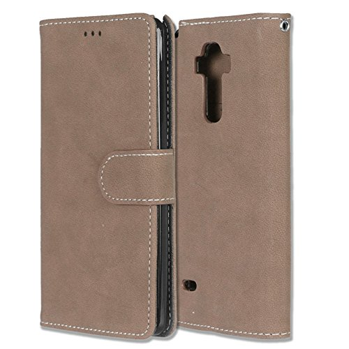 Price comparison product image GreenElec LG G Stylo Case,  LG G4 Stylus Case,  LS770 Case - Premiun PU Leather Wallet Case [Kickstand Feature] Built In 3-ID Card Slots Holder Magnetic Closure (Beige)