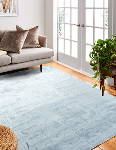 Bashian Radiance collection WZ hand loomed 100% banana silk area rug 3.9X5.9 Sky