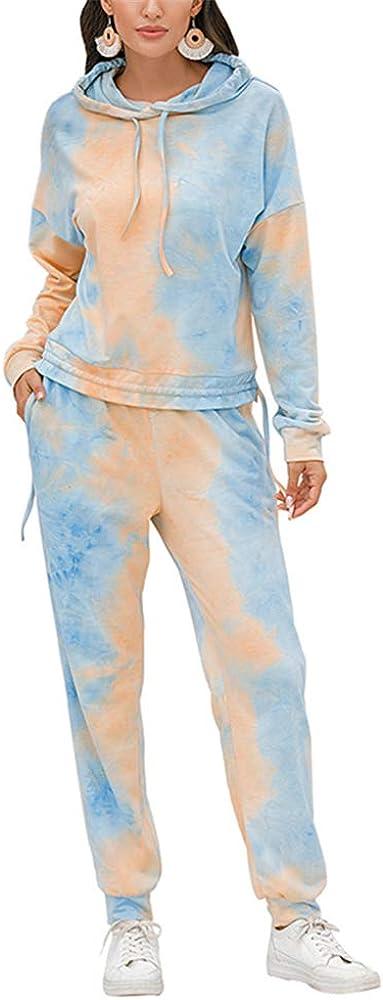 ZFQQ 2020 Nuevo otoño e Invierno con Estampado Tie-Dye para Damas Traje de Servicio a Domicilio Camisa de Manga Larga pantalón Traje de Dos Piezas