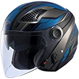 ナンカイ(NANKAI) ZEUS HELMET ゼウス レイヤー ジェットヘルメット ガンメタ/ブルー M NAZ-213 LAYER