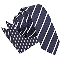 DQT Premium Woven Jacquard Single Stripe Men's Skinny Narrow 5cm Tie and Handkerchief Pocket Square Hanky 2 pc. Matching Set - Various Colours