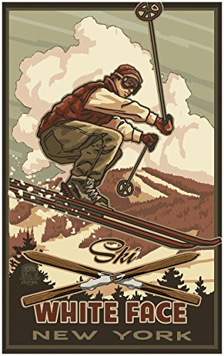 White Face Lake Placid New York Catching Air Snowboarder Travel Art Print Poster by Paul A. Lanquist (30
