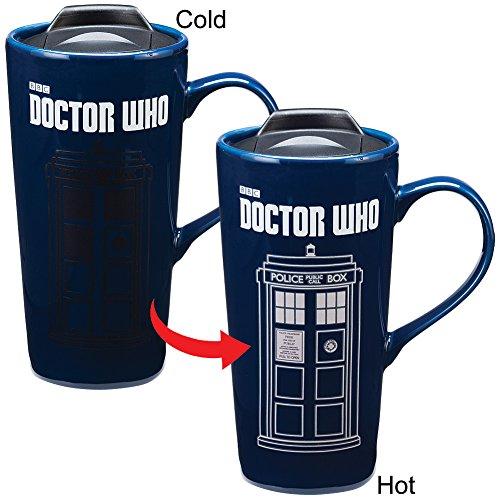 Time Mug Travel Mug - Doctor Who TARDIS Time Machine Heat Reactive 20-oz Ceramic Travel Mug w/ Lid 16251