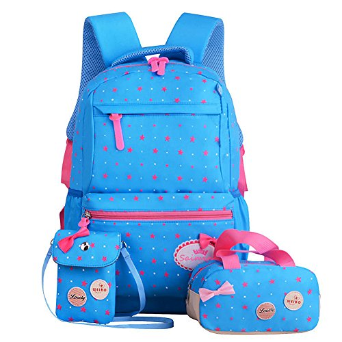 FOLLOWUS Kids Backpacks Girls School Backpack Purse Lunch Bag 3 in 1 (Blue&Rose)