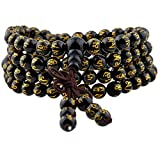 TUMBEELLUWA 6mm Stone Beads Bracelet for Women and Men, 108 Mala Prayer Beads Necklace for Unisex Elastic