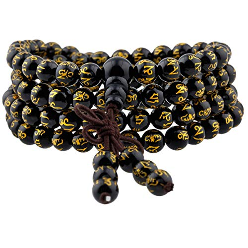 TUMBEELLUWA 6mm Stone Beads Bracelet for Women and Men, 108 Mala Prayer Beads Necklace for Unisex Elastic,Black Obsidian Engraved with Six Words Mantra