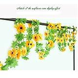 Meiliy 2 Pack 7.9 FT Fake Sunflower Flower Vine Gerbera Daisy Flowers Plants Artificial Flower Home Hotel Office Wedding Party Garden Craft Art Decor ML-020