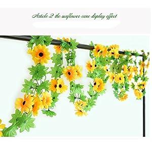 Meiliy 2pcs 7.9 FT Fake Sunflower Flower Vine Gerbera Daisy Flowers Plants Artificial Flower Home Hotel Office Wedding Party Garden Craft Art Decor 96