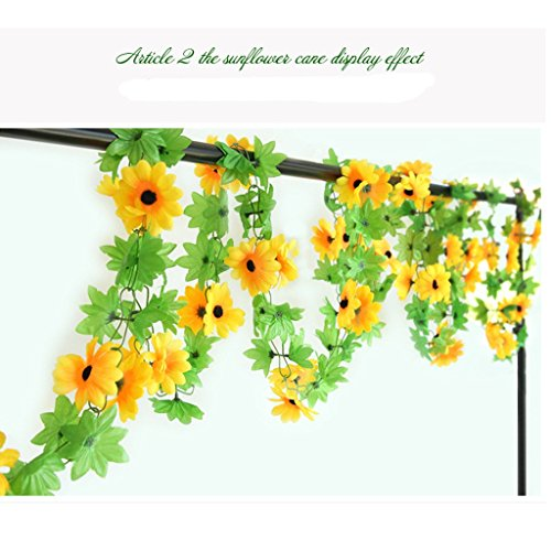 Daisy Balloons Gerbera (Meiliy 2pcs 7.9 FT Fake Sunflower Flower Vine Gerbera Daisy Flowers Plants Artificial Flower Home Hotel Office Wedding Party Garden Craft Art Decor)