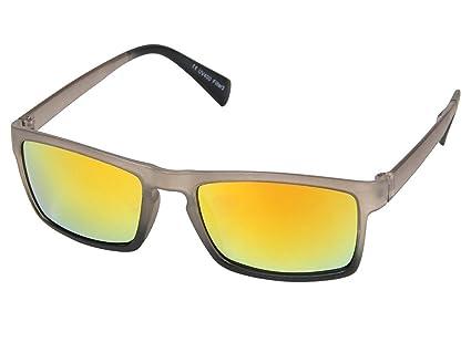 Lunettes de soleil miroir rectangulaire bicolore Ultra légères colori couleurs très sympa accessoire cool pas cher UV 400 belle paire de lunettes souple homme femme jeune adulte ados fête festival soi 9ZYxMRhwFF