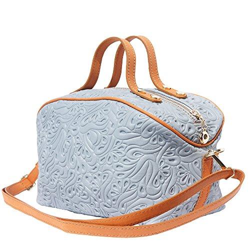 Bolsa de maquillaje de cuero con correa larga 301 Gris-tostado