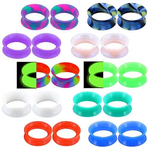 OUFER 20PCS Soft Silicone Ear Gauges Flesh Tunnels Plugs Stretchers Expander Double Flared Flesh Tunnels Ear Piercing Jewelry ()