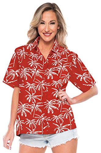 LA LEELA Beach Shirts for Women Button Up Short Sleeve Red_AA195 XL - US 40-42E -