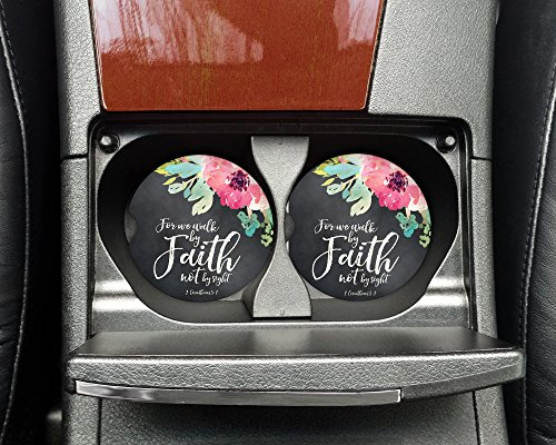 Corinthian Two Light - For we walk by Faith not by sight 2 Corinthians 5:7 - Car coasters - Sandstone auto cup holder coasters - Christian Gifts for her