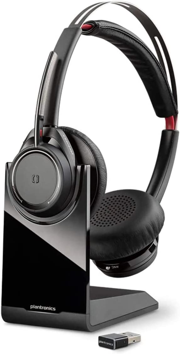 Plantronics Voyager Focus UC B825M - Auricular Bluetooth estéreo con Base de Carga y Adaptador USB A BT, Sensor Inteligente, Brazo de micrófono, supresión de Ruido, Skype, Color Negro