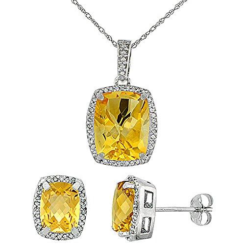 Or blanc 9carats Diamant naturel octogone Citrine Boucles d'oreilles et pendentif de coussin Accents