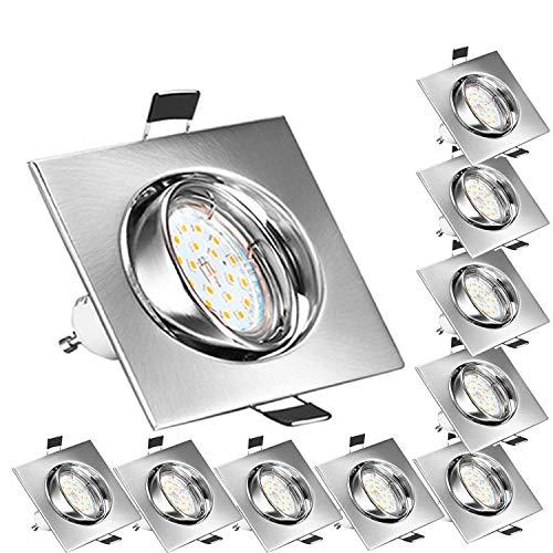 Bojim Foco Empotrable para el Techo Cuadrado 10x GU10 6W Blanco Natural 4500K LED Luz de Techo 600lm 82Ra AC 220V-240V…