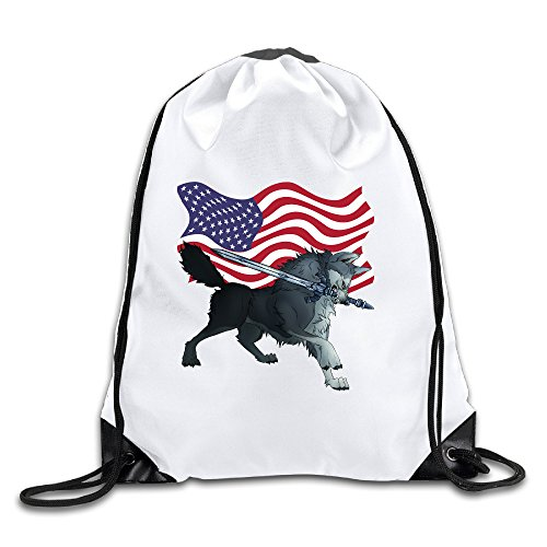 Price comparison product image Zhanzy America Flag Wolf Large Drawstring Sport Backpack Sack Bag Sackpack