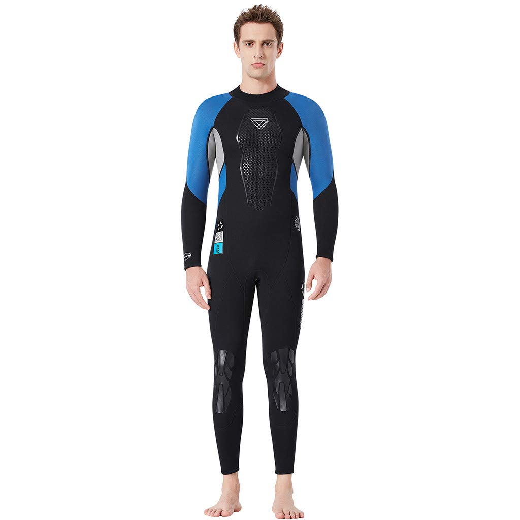 Mens Swimwear Hechun Men's Long Sleeve Surfing Wetsuit,Keep Warm Sunscreen Swimming Snorkeling Diving Coverall Suit (XL, Blue)