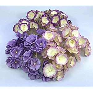 100 pcs. Blossom Flower Purple Tone Mulberry Paper Flower 20-25 mm Scrapbooking Wedding Doll House Supplies Card by' Thai Decorated 71