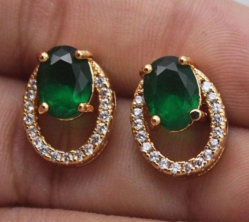 low Gold Filled - Hollow Oval Emerald Topaz Zircon Stud Gemstone Earrings (Tiffany Emerald Earrings)