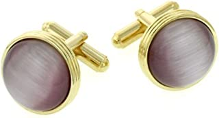 product image for JJ Weston Lilac Cats Eye Cufflinks. Made in The USA.