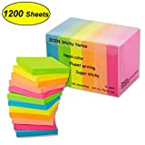 ZCZN 6 Bright Color Sticky Notes,3 in x 3 in 12 Pads/Pack 100 Sheets/Pad Sticky issue is improved (12 pack)
