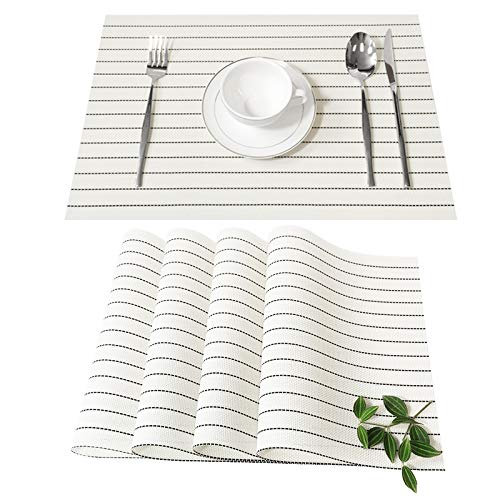 MMM HOME Placemats Set of 4 Heat Insulation Stain Resistant Placemat for Dining Table Durable Crossweave Woven Vinyl Kitchen Table Mats Placemat Washable Table Mats (White)