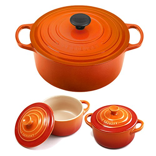 Le Creuset Signature Flame Enameled Cast Iron 5.5 Quart Round French Oven with 2 Free Stoneware Cocottes
