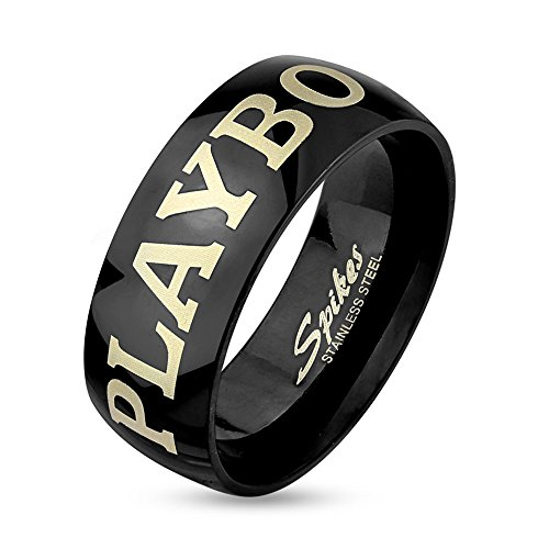 Jinique STR-0410 Stainless Steel Playboy Laser Etched Black IP Couple Ring