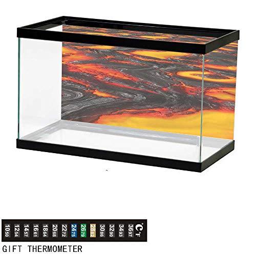 (Suchashome Fish Tank Backdrop Volcano,Hot Flowing Magma Lava,Aquarium Background,36