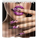 KOTOM Makeup Shower Curtains, Sex Woman with Purple Lips and Nail, Polyester Fabric Waterproof Bathroom Bath Curtain, Shower Curtain Hooks Included, 69X70in