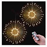 POHO 2 Pack LED Fairy Lights, 8 Modes Dimmable String Lights, Remote Control with Timer, Hanging Starburst Lights, Waterproof Starry Lights, Decorative Copper Wire Lights for Parties