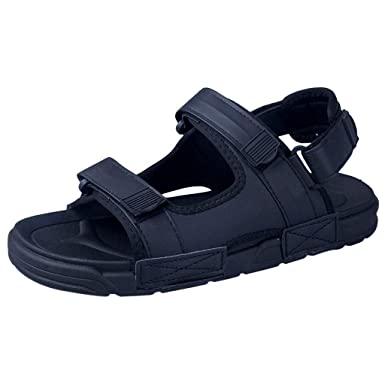 Mens Summer Sandals,Black Non-Slip Soft Sole Beach Sandals
