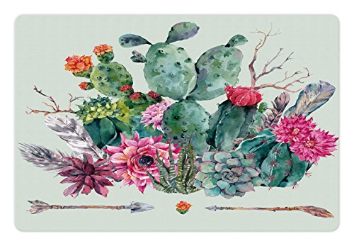 Ambesonne Cactus Pet Mat for Food and Water, Spring Garden with Boho Style Bouquet of Thorny Plants Blossoms Arrows Feathers, Rectangle Non-Slip Rubber Mat for Dogs and Cats, Multicolor by Ambesonne