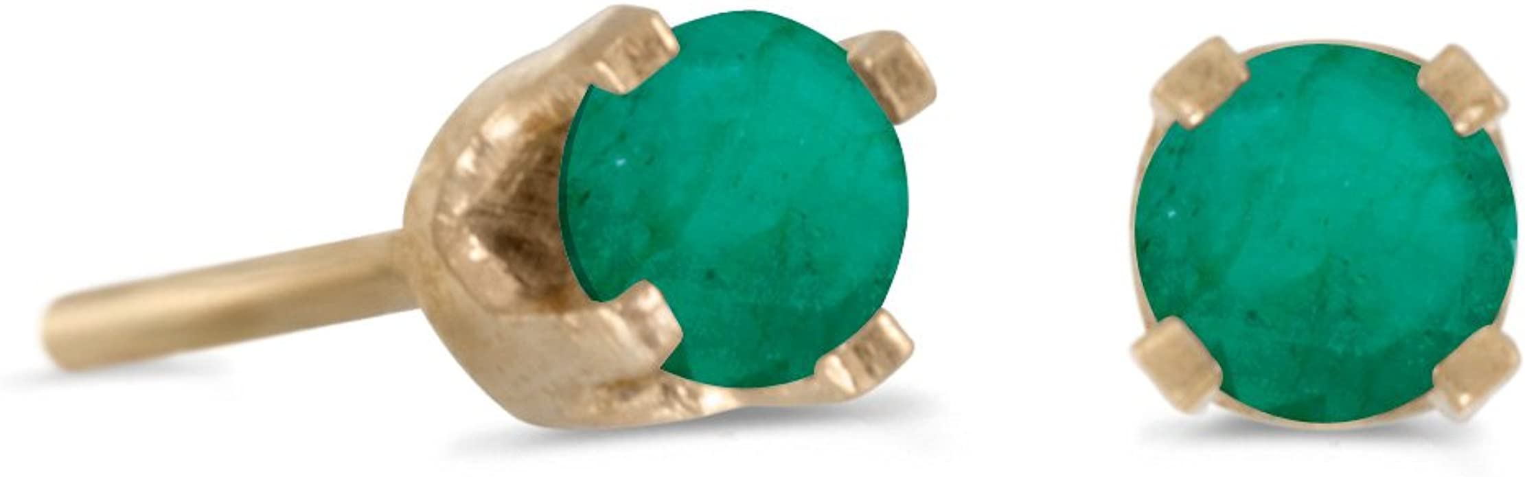 Details about  /Emerald Stud Earrings 14k Yellow Gold