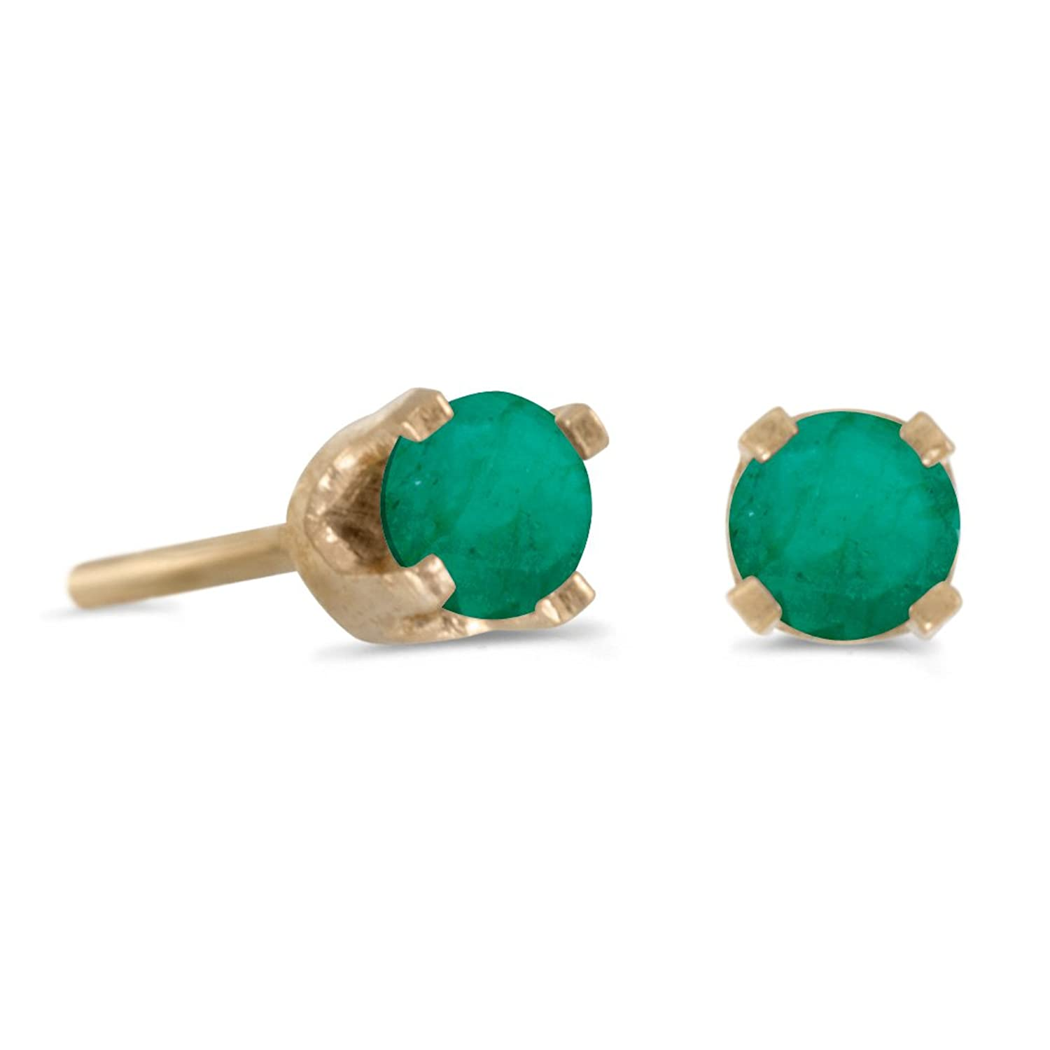in gold stud yellow com earrings amazon dp jewelry emerald natural mm round set