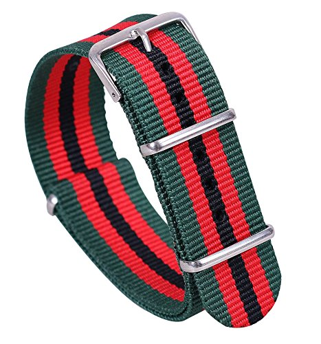 18mm Green/Red/Black High-end Nato style Superb Nylon Watch Band Strap Replacement for Men - Flat Ferrari Black