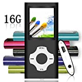 Tomameri - Digital, Compact and Portable MP3 / MP4 Player with Rhombic Button (16 GB Micro SD Card Included), E-Book Reader,  Photo Viewer, Video, FM Radio, Movie and Voice Recorder Supported-Black