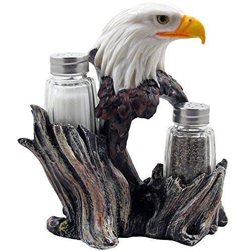 t & Pepper Shakers with Decorative Figurine Display Stand Set for American Patriotic Bar and Kitchen Decor Sculptures or Rustic Lodge Restaurant Tabletop Decorations and Wildlife Bird Gifts by Home-n-Gifts (American Wildlife Display)