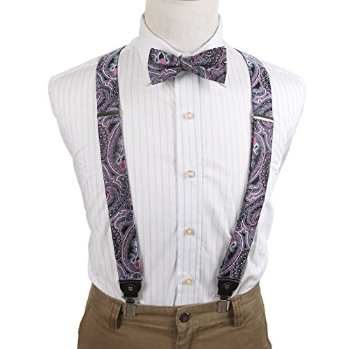 EFCB0041 Purple Blue Paisley Microfiber Y-Back Suspenders Stainless Steel Clip Possibly Style By (Bow Ties And Suspenders)