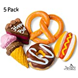 JoyShark Jumbo Squishies Slow Rising [5-Pack] | Ice Cream, Donut, Cake, Pretzel & Hot Dog Squeeze Stress Relief Toy Kids & Adults