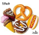 JoyShark Jumbo Squishies Slow Rising [5-Pack]   Ice Cream, Donut, Cake, Pretzel & Hot Dog Squeeze Stress Relief Toy Kids & Adults