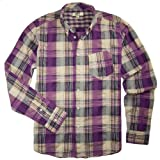 Cockpit USA Men's Madras Plaid Casual Shirt, Purple, L